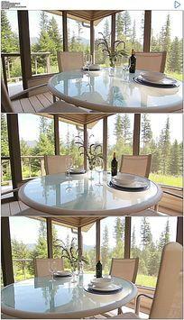 房地产建筑落地窗阳台餐桌视频素材 mov
