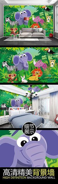 可爱卡通森林动物儿童房矢量背景墙