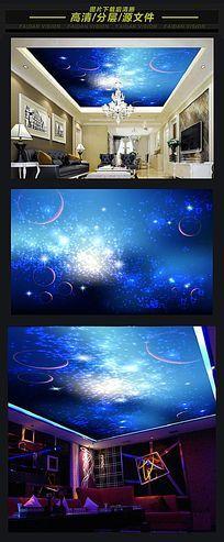 梦幻银河系星空天顶壁画