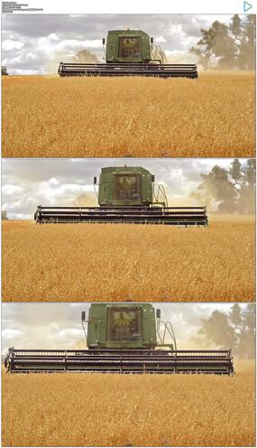 农业机械化收割实拍视频素材