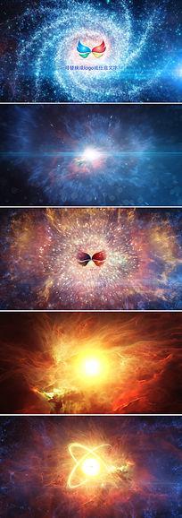 震撼宇宙银河星空LOGO标志展示ae模板