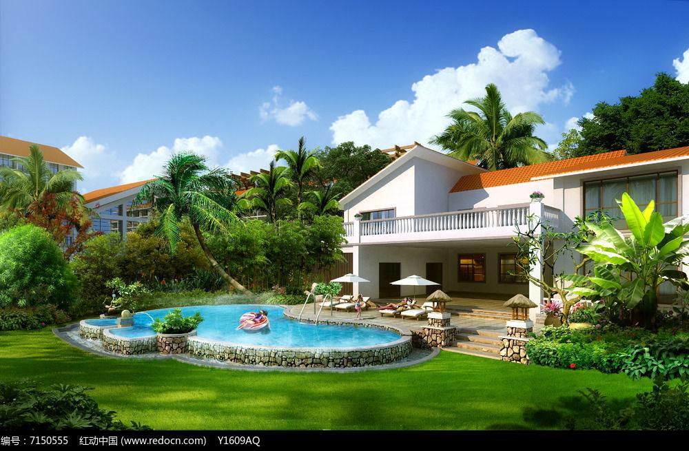 别墅泳池景观效果图图片