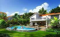 别墅泳池景观效果图 PSD