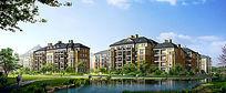 欧式住宅区景观效果图