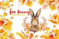 可爱黄色兔子手绘psd分层素材插画