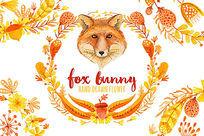 黄色水彩狐狸头像手绘插画设计 PSD