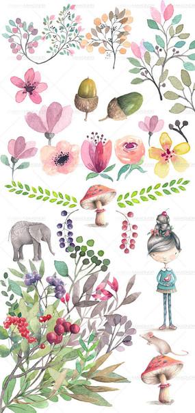 婚纱唯美手绘插画 小动物插画 卡通花纹插画边框背景素材 淡雅小清新