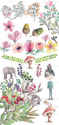 水彩手绘植物插画psd分层素材 PSD