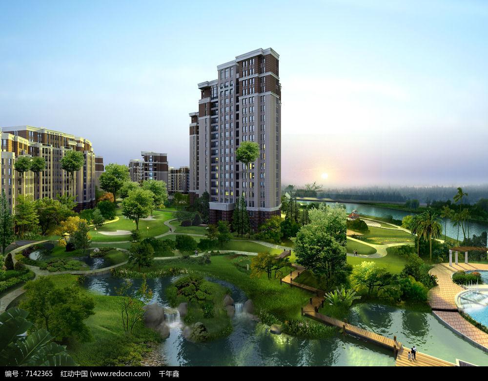 住宅区景观鸟瞰效果图图片