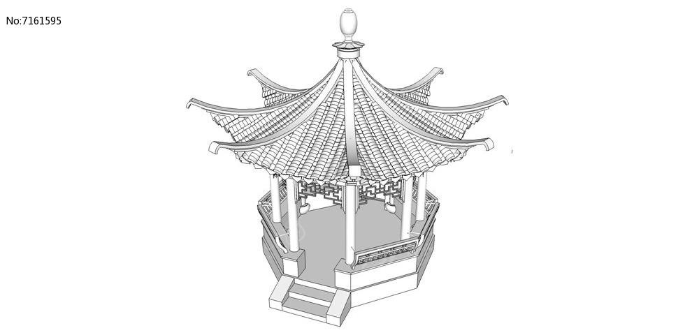多边形亭子模型图片