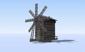 木骨架木质风车房