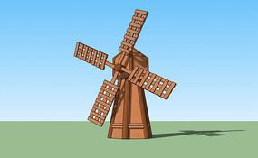 木质方格纹扇风车