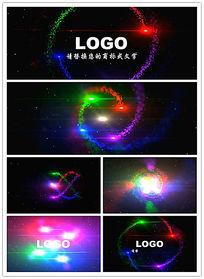 四色粒子旋转片头LOGO展示模板