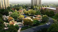 高层住宅绿化景观半鸟瞰图