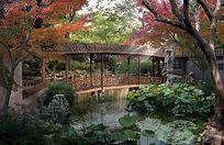 古典园林廊桥效果图