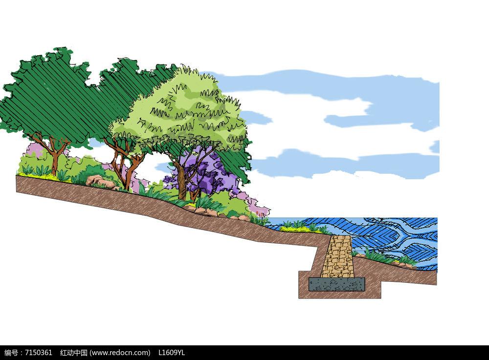 绿植斜坡断面psd素材下载_手绘素材设计图片