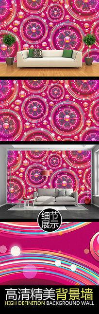时尚华丽圆形立体艺术花纹图案背景墙