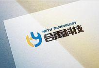 双色科技logo设计 AI
