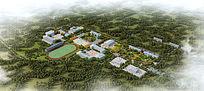 学校景观鸟瞰图PSD