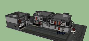 暗色系现代别墅模型