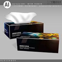 黑色炫彩背景纸巾盒模板 AI