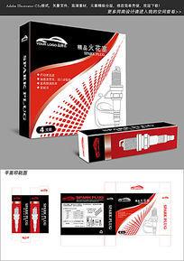 红黑简约风格火花塞包装设计图