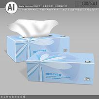 浅蓝色花纹纸巾盒包装设计