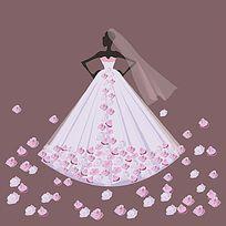 时装插画粉色花朵婚纱晚礼服