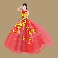 时装插画红色高贵晚礼服