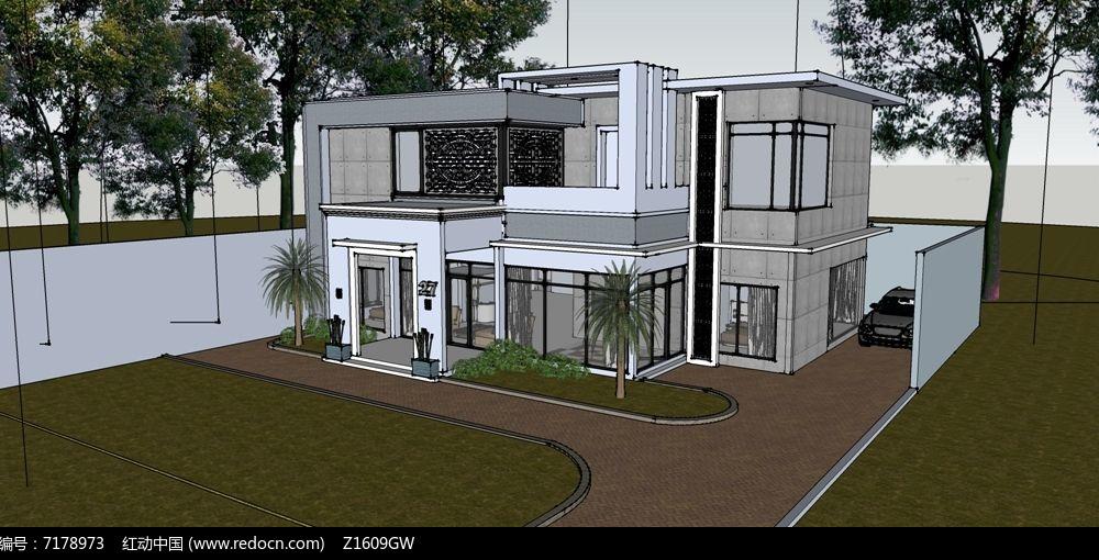 原创设计稿 3d模型库 建筑 新中式别墅模型  请您分享: 红动网提供