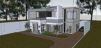 新中式别墅模型