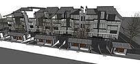 新中式灰色带庭院车库马路景观联排别墅群
