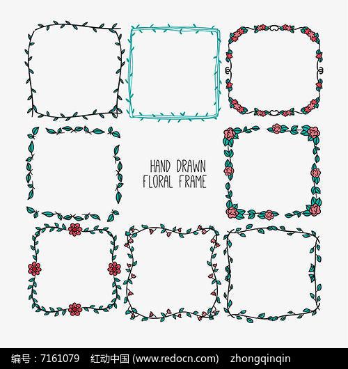 正方形方框手绘花边边框ai矢量素材