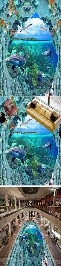 3D海底世界海豚珊瑚地砖地板画