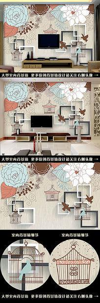 3D欧式手绘抽象画电视背景墙