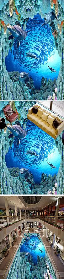 海洋世界浴室艺术3D立体画地画地板 PSD