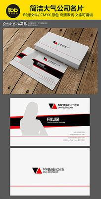 红黑色精英照片行业精英名片设计