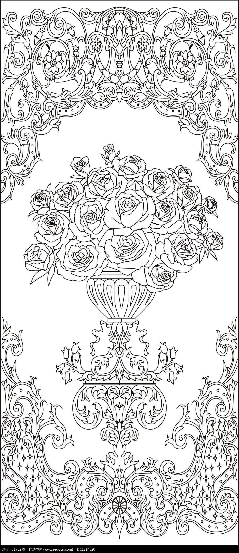 原创设计稿 装饰画/电视背景墙 雕刻图案 玫瑰花雕刻图案图片