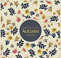 秋天的复古背景鲜花和树叶矢量素材