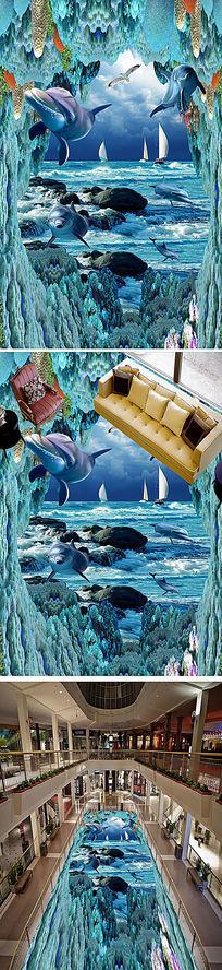 唯美海底世界3D地砖画