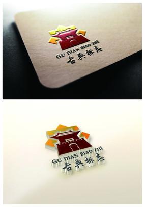 中国风古典建筑餐饮主题标志LOGO设计