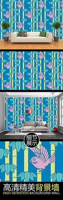 竹林飞鸟艺术装饰背景墙