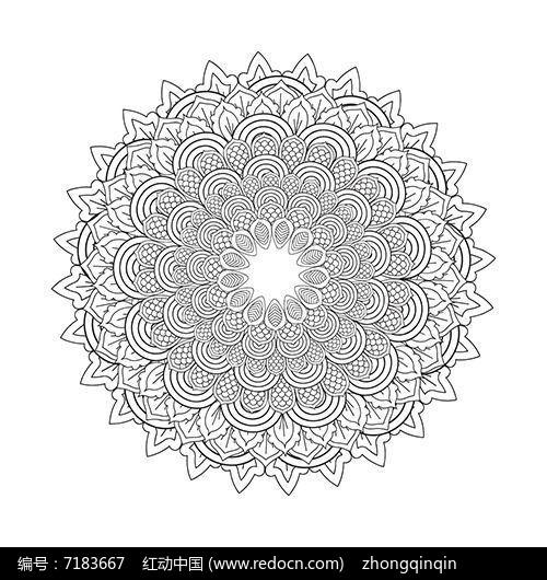 白描曼陀罗图案设计矢量素材