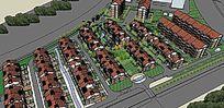 别墅住宅小区全景景观SU模型