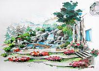 现代石构架廊JPG素材下载_手绘素材设计图片