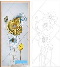 金银花开雕刻图案