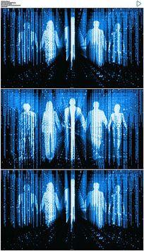 蓝色科技商业人行走视频素材