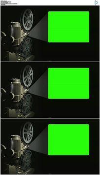 老式电影放映机绿屏抠像视频素材