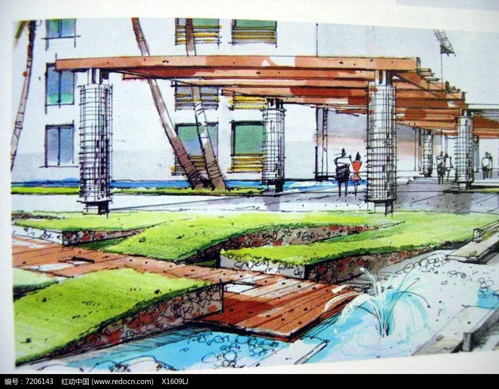 木质长廊jpg素材下载_手绘素材设计图片