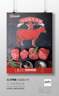 牛肉火锅牛分布图简约高清PSD分层海报